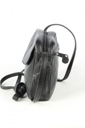 Leather Mini Shoulder Bag Womens Vintage 1970s Black -BG1166-152675