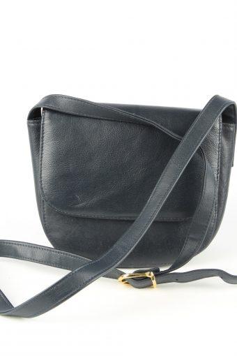 Leather Mini Shoulder Bag Womens Vintage 1980s Navy