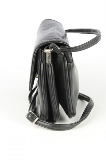 Leather Mini Shoulder Bag Womens Vintage 1980s Black -BG1171-152695