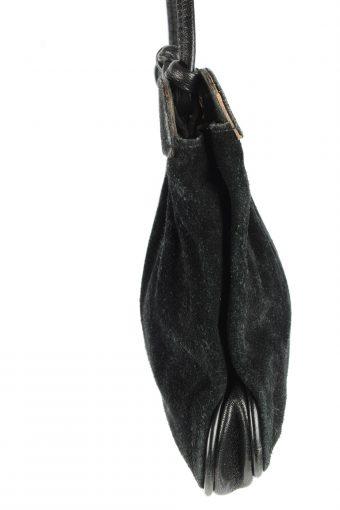 Suede Leather Mini Shoulder Bag Womens Vintage 1980s Black -BG1172-152699