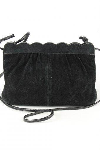 Suede Leather Mini Shoulder Bag Womens Vintage 1980s Black