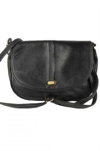 Leather Shoulder Bag Womens Vintage 1980s Black