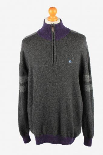 Pierre Cardin Zip Neck Jumper Sweater Mens Grey XL