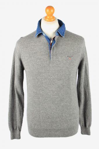 Gant Collared Wool Jumper Sweater Mens Grey M
