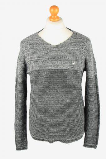 Armani V Neck Jumper Sweater Mens Grey L