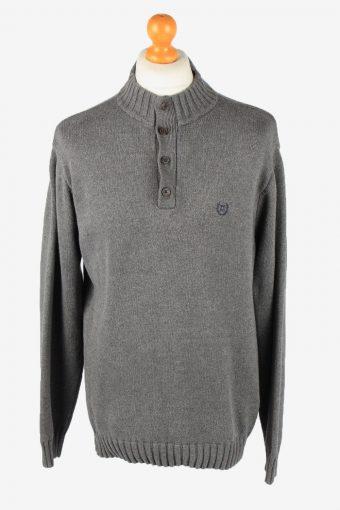 Chaps Button Neck Jumper Pullover Mens 90s Grey L