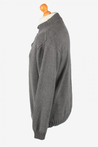 Chaps Button Neck Jumper Pullover Vintage Mens L Grey -IL2365-152428