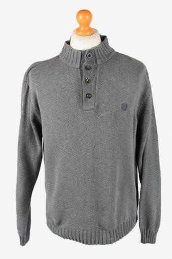 Chaps Button Neck Jumper Pullover Mens Grey XL