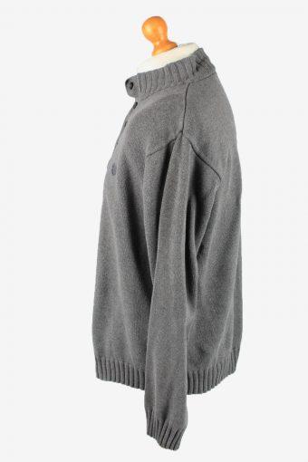 Chaps Button Neck Jumper Pullover Vintage Mens XL Grey -IL2366-152432