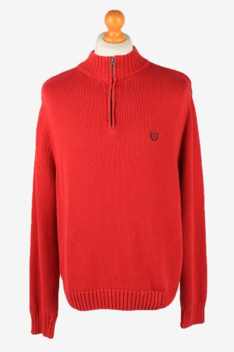 Chaps Zip Neck Jumper Pullover 90s Mens Red XL