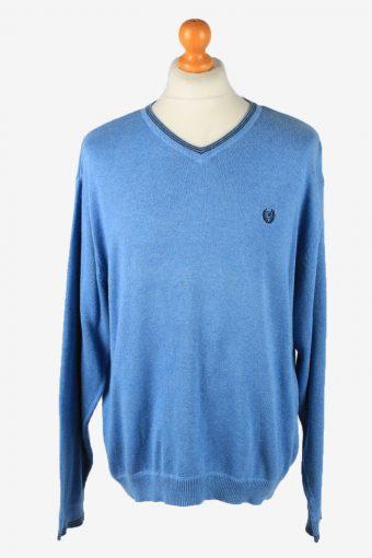 Chaps V Neck Jumper Pullover 90s Mens Blue L