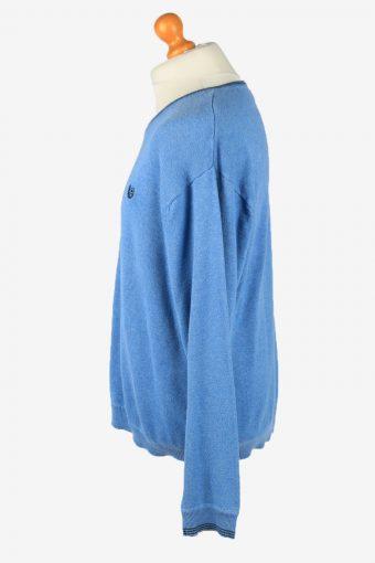 Chaps V Neck Jumper Pullover Vintage Mens L Blue -IL2384-152504