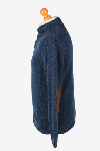 Chaps Button Neck Jumper Pullover Vintage Mens M Navy -IL2390-152528