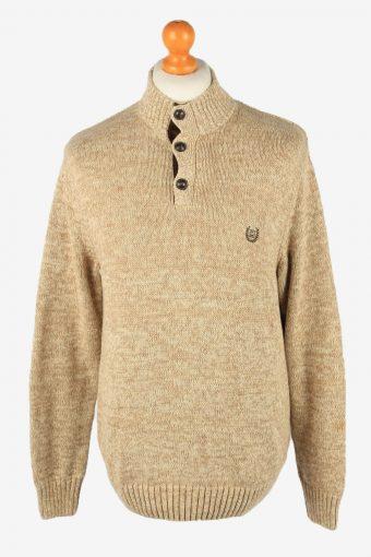 Chaps Button Neck Jumper Pullover 90s Mens Light Brown L
