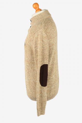 Chaps Button Neck Jumper Pullover Vintage Mens L Light Brown -IL2392-152536