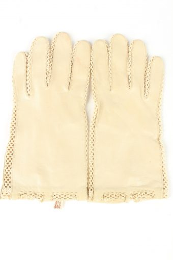 Leather Dress Gloves Vintage Womens 7.75 Beige