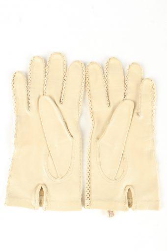 Leather Dress Gloves Vintage Womens 7.75 Beige -G435-151801