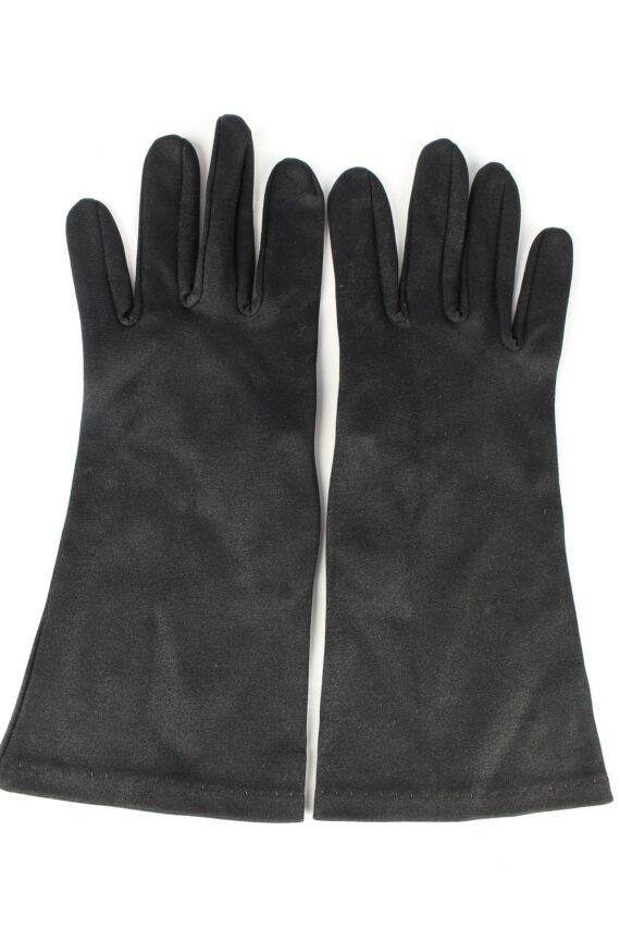 "Dress Gloves Vintage Womens 6"" Black -G442-0"
