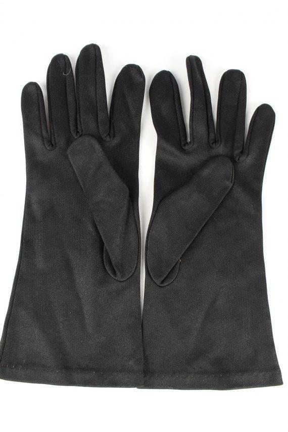 "Dress Gloves Vintage Womens 6"" Black -G442-151822"