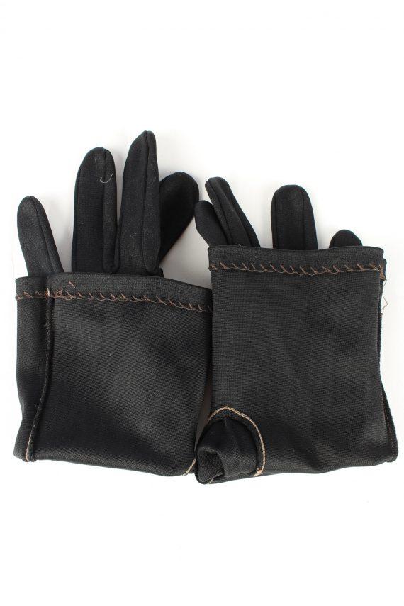 "Dress Gloves Vintage Womens 6"" Black -G442-151823"