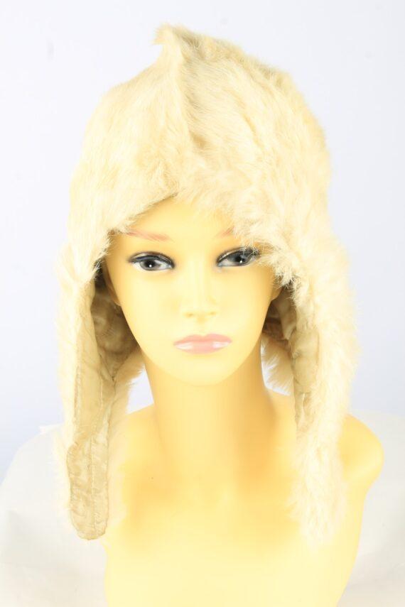 Winter Fur Cap Hat Vintage Womens Beige -HAT1827-0