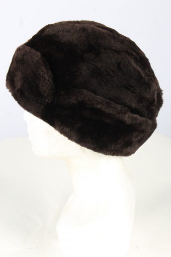 Genuine Fur Ushanka Hat Vintage Unisex Black -HAT1846-151699
