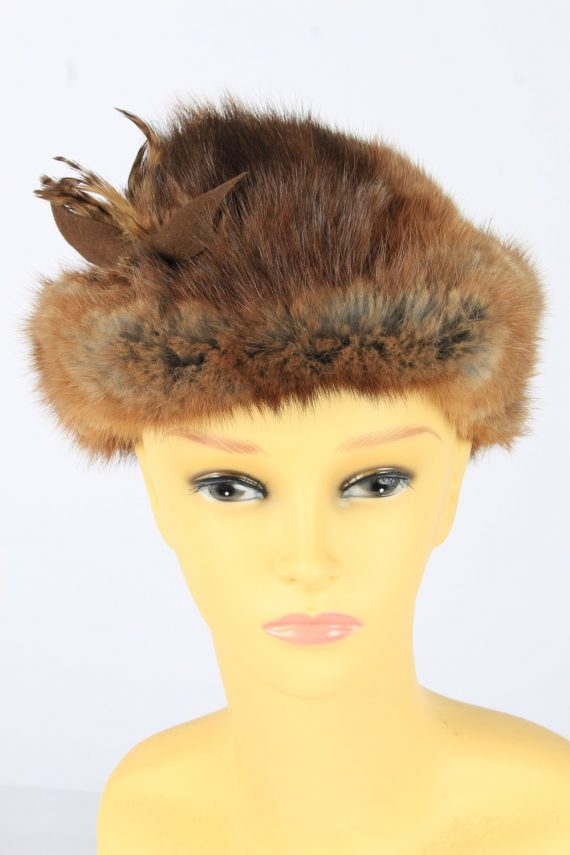 Russian Fur Cossack Feather Hat Vintage Womens 1990s Brown -HAT1718-0