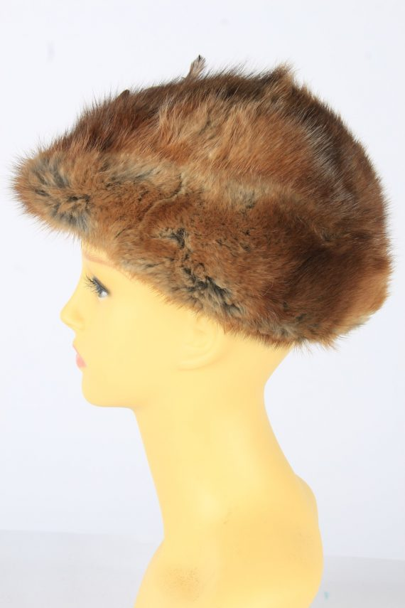 Russian Fur Cossack Feather Hat Vintage Womens 1990s Brown -HAT1718-150708