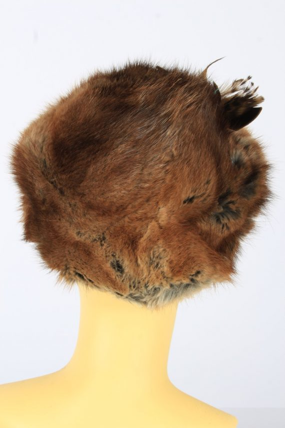 Russian Fur Cossack Feather Hat Vintage Womens 1990s Brown -HAT1718-150709