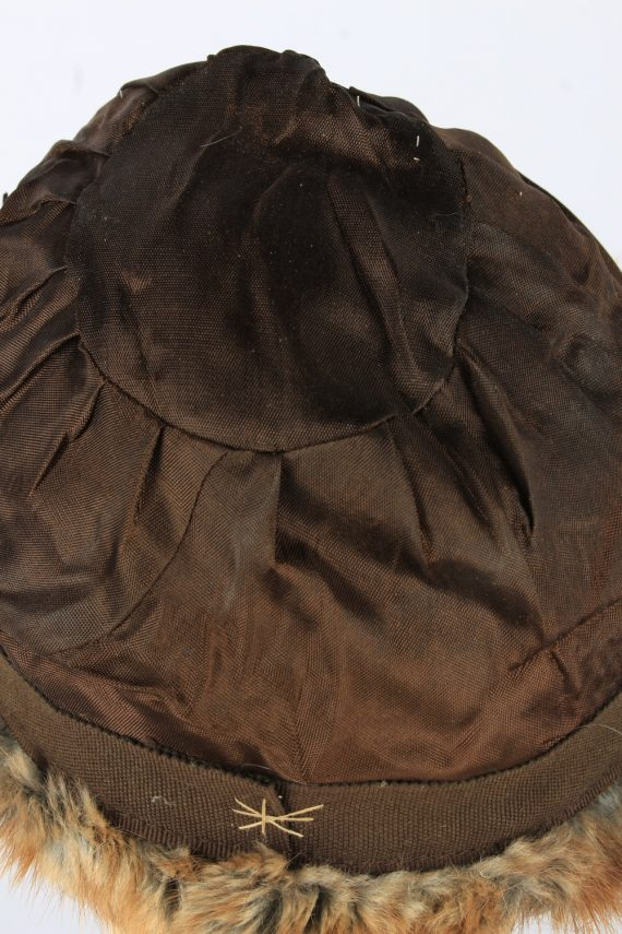 Russian Fur Cossack Feather Hat Vintage Womens 1990s Brown -HAT1718-150710