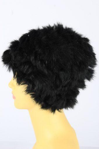 Faux Fur Beanie Hat Vintage Womens 1990s Black -HAT1720-150716