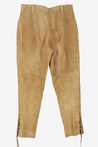 Genuine Suede Leather Trouser Jeans Country Line Vintage Womens Size 30 Coffee -J5142-150424