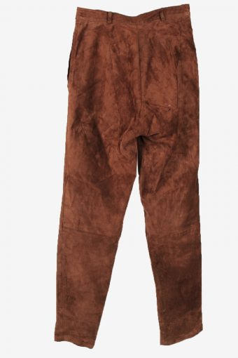 Genuine Suede Leather Trouser Jeans Miss Vintage Womens Size 36 Brown -J5148-150448