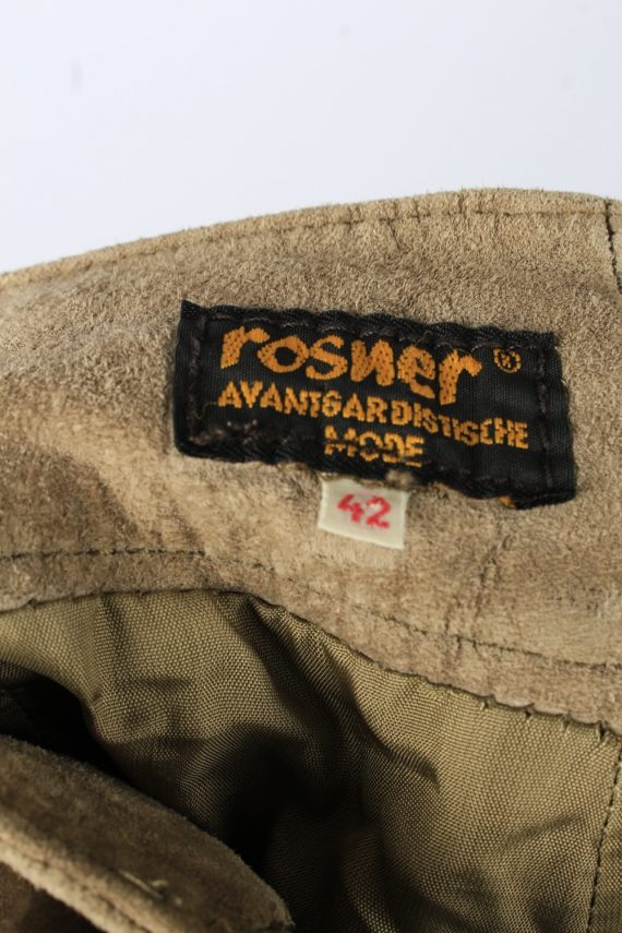 Genuine Suede Leather Trouser Jeans Rosner Vintage Womens Size 42 Light Brown -J5150-150458