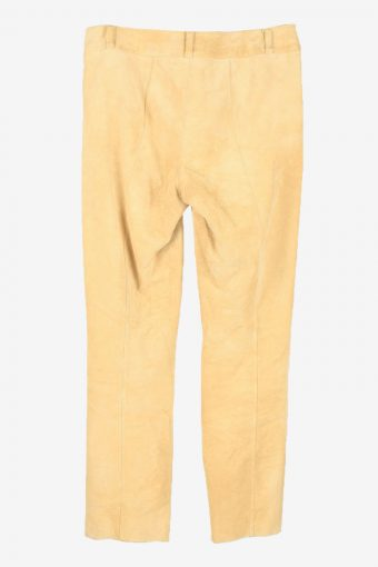 Genuine Suede Leather Trouser Jeans Apart Vintage Womens Size UK 10 Coffee -J5151-150460
