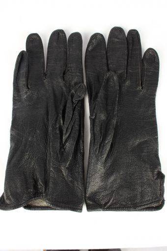 Leather Gloves Vintage Womens Black -G444-151966