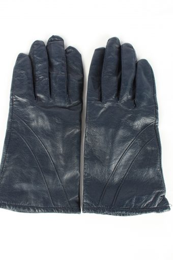 Genuine Leather Gloves Lined Vintage Womens 7.5 Navy