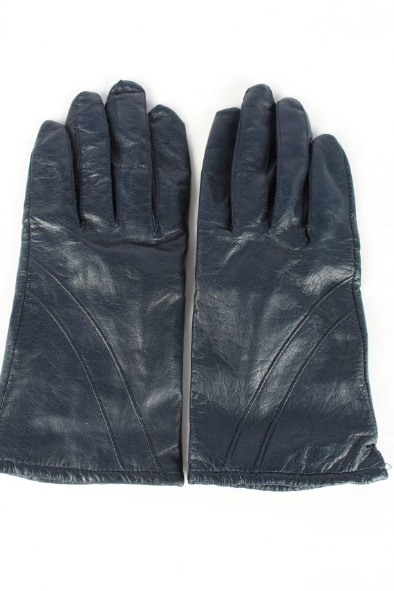 Genuine Leather Gloves Lined Vintage Womens 7.5 Navy -G447-0