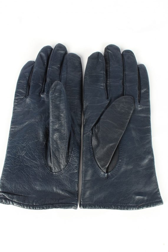 Genuine Leather Gloves Lined Vintage Womens 7.5 Navy -G447-151976