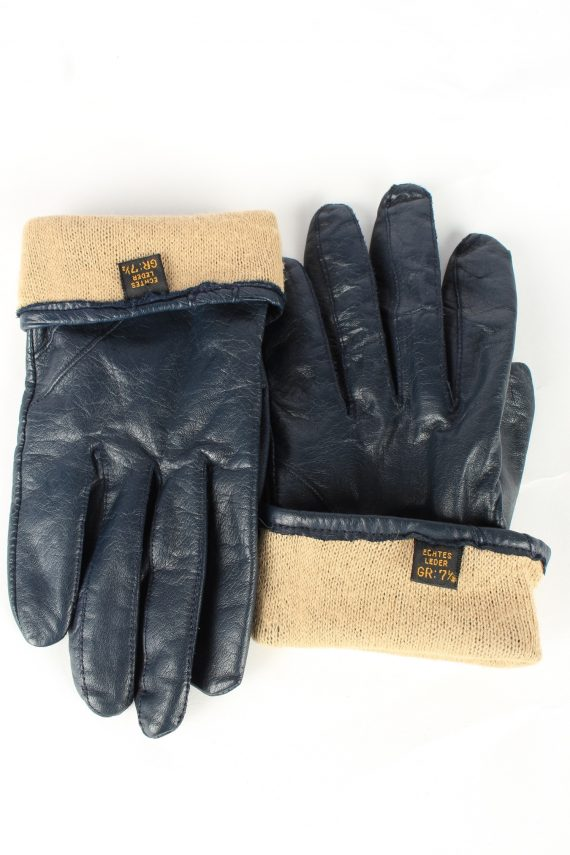 Genuine Leather Gloves Lined Vintage Womens 7.5 Navy -G447-151977