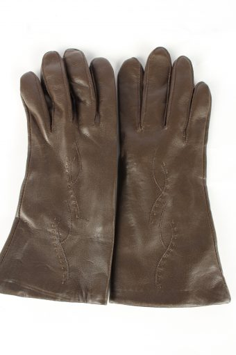 Faux Leather Gloves Lined Vintage Womens Brown