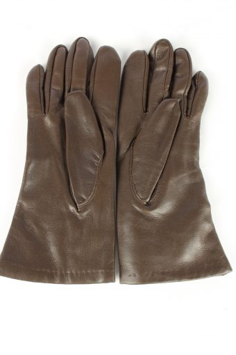 Faux Leather Gloves Lined Vintage Womens Brown -G449-151982