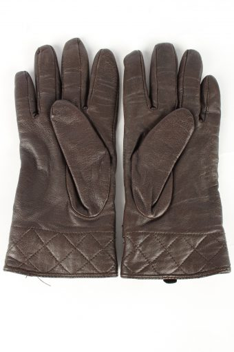 Leather Gloves Lined Vintage Womens Brown -G450-152051