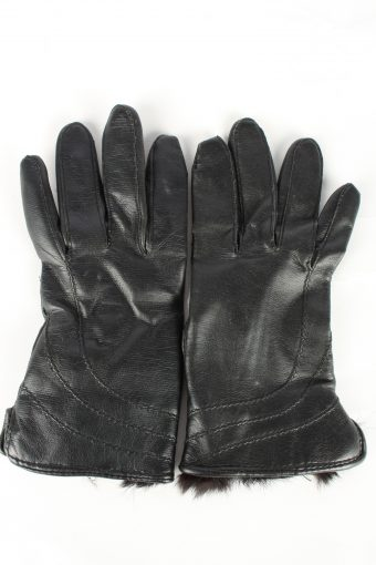 Faux Leather Gloves Lined Vintage Womens S Black