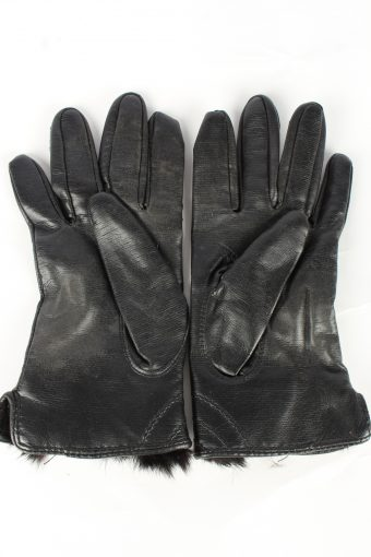 Faux Leather Gloves Lined Vintage Womens S Black -G454-151995