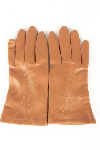 Faux Leather Gloves Lined Vintage Womens L Brown