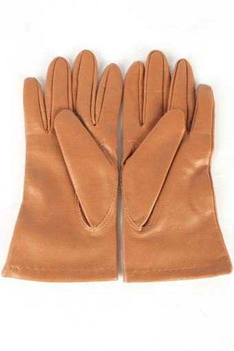 Faux Leather Gloves Lined Vintage Womens L Brown -G455-151998