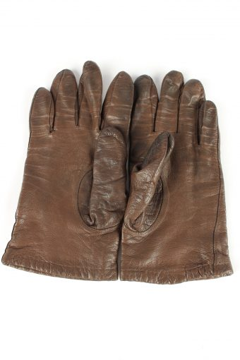 """Leather Gloves Lined Vintage Womens 7"""" Brown -G391-151527"""