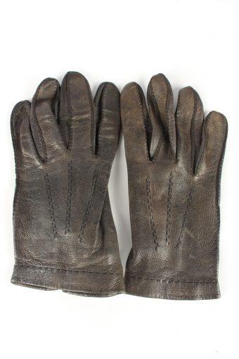 Leather Gloves Vintage Womens 7.5 in Dark Grey