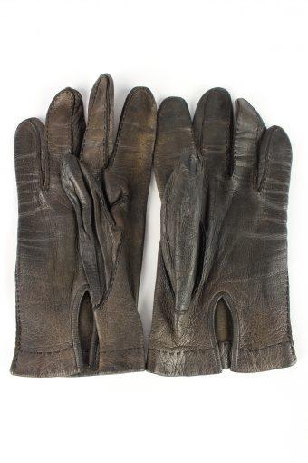 """Leather Gloves Vintage Womens 7.5"""" Dark Grey -G392-151531"""